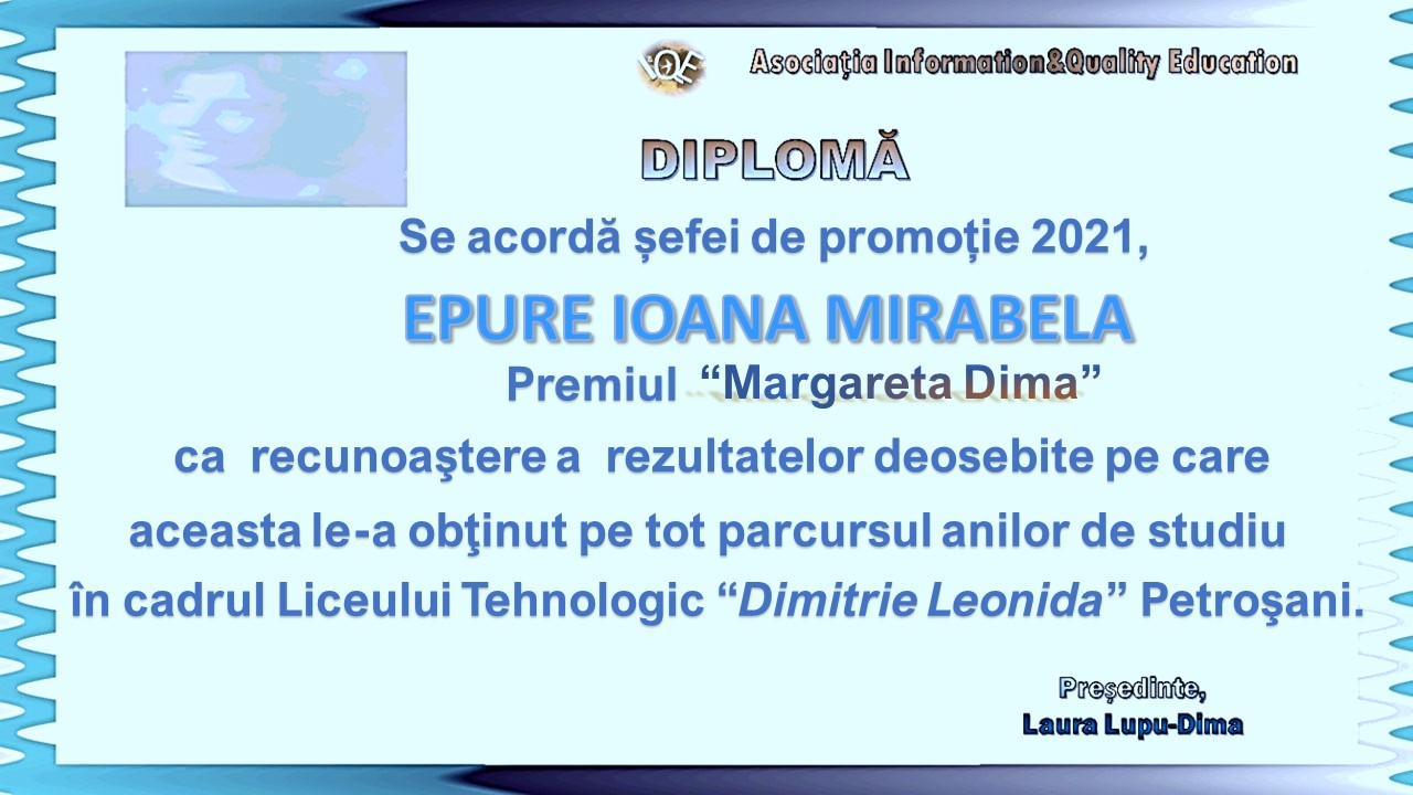 """You are currently viewing Premiul """"Margareta Dima"""" 2021"""